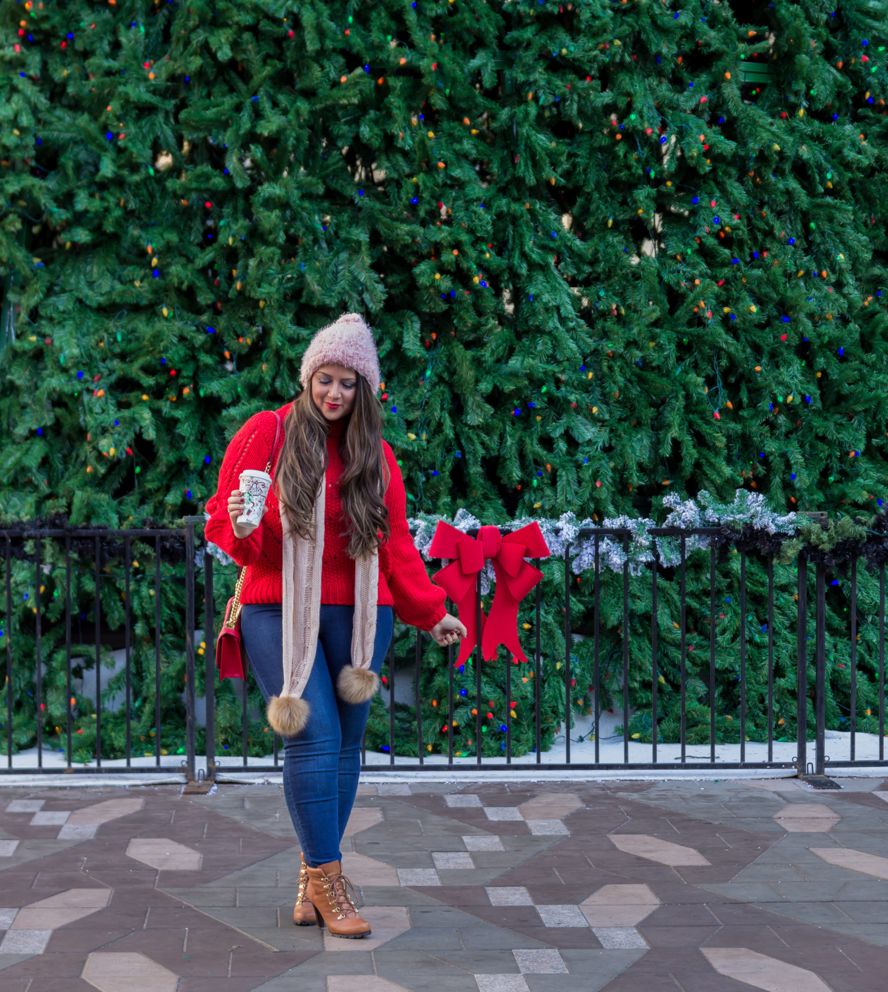 Cozy knit sweater & faux fur pom pom scarf - Cozy knits to keep you warm this Holiday Season by Vancouver fashion blogger Gracefully Glam