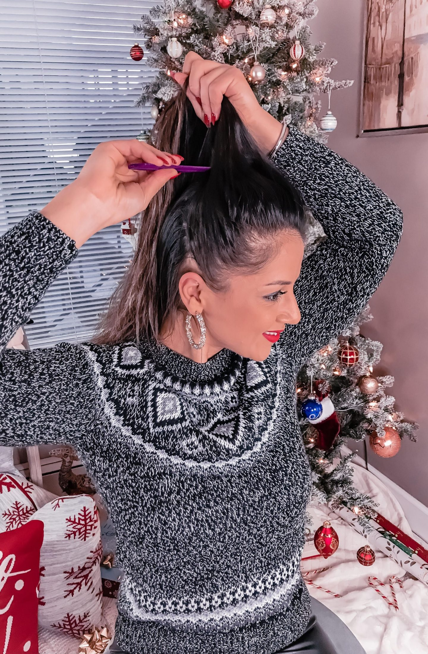 How to create a glam ponytail for the holidays with Herbal Essences at Walmart