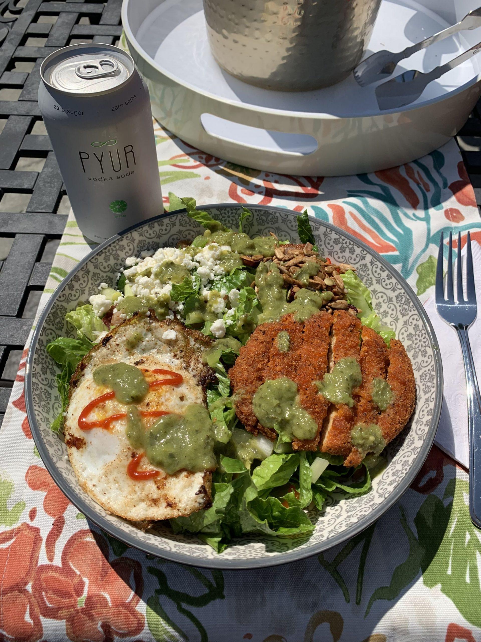 Spicy Chicken, Fried Egg & Feta Salad With Avocado Dressing